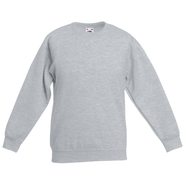Heather Grey - Front - Fruit Of The Loom Childrens Big Boys Set in Sleeve Sweatshirt
