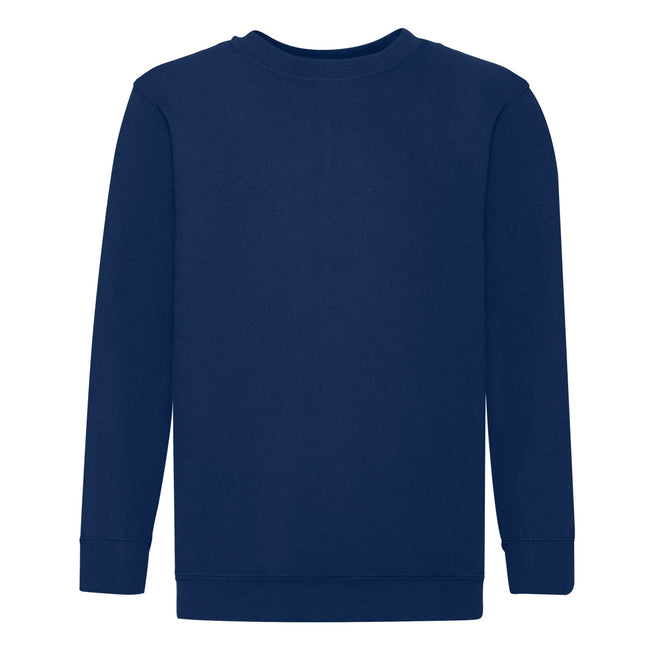 Deep Navy - Front - Fruit Of The Loom Childrens Big Boys Set in Sleeve Sweatshirt