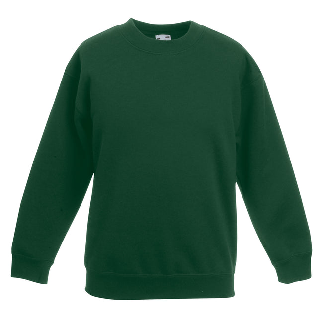Bottle Green - Front - Fruit Of The Loom Childrens Big Boys Set in Sleeve Sweatshirt