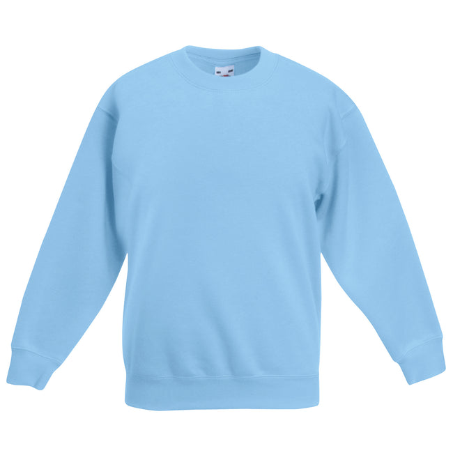 Sky Blue - Front - Fruit Of The Loom Childrens Big Boys Set in Sleeve Sweatshirt