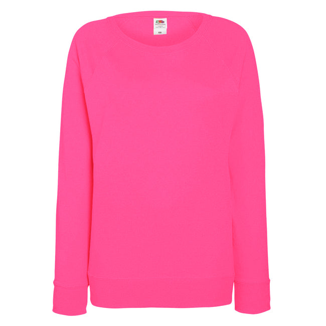Fuchsia - Front - Fruit OF The Loom Ladies Fitted Lightweight Raglan Sweatshirt (240 GSM)