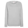 Heather Grey - Front - Fruit OF The Loom Ladies Fitted Lightweight Raglan Sweatshirt (240 GSM)
