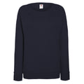 Deep Navy - Front - Fruit OF The Loom Ladies Fitted Lightweight Raglan Sweatshirt (240 GSM)