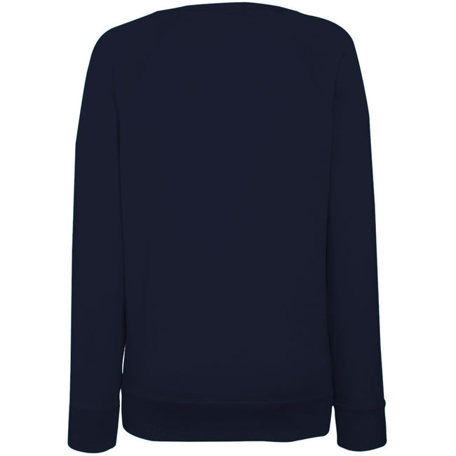 Deep Navy - Back - Fruit OF The Loom Ladies Fitted Lightweight Raglan Sweatshirt (240 GSM)
