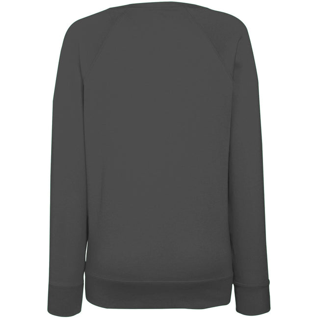 Light Graphite - Back - Fruit OF The Loom Ladies Fitted Lightweight Raglan Sweatshirt (240 GSM)