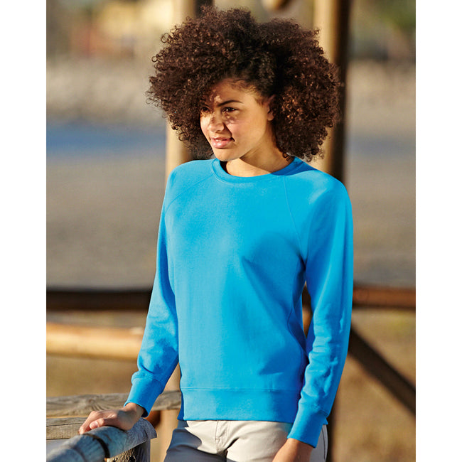 Azure Blue - Side - Fruit OF The Loom Ladies Fitted Lightweight Raglan Sweatshirt (240 GSM)