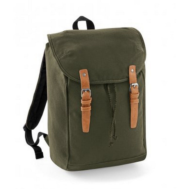 Military Green - Front - Quadra Vintage Rucksack - Backpack
