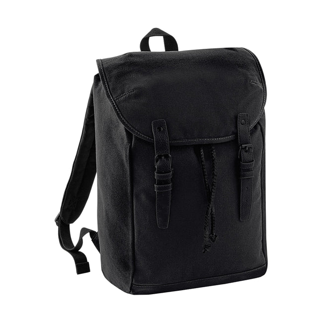 Black-Black - Front - Quadra Vintage Rucksack - Backpack