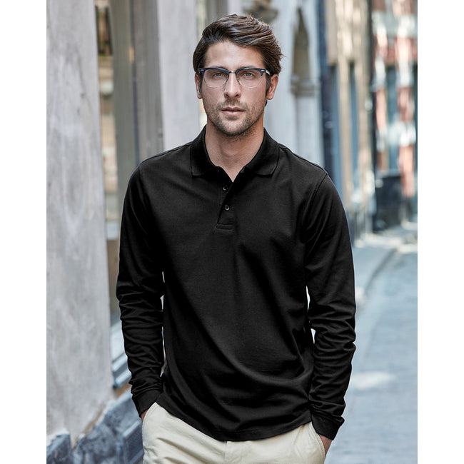 Black - Back - Tee Jays Mens Luxury Stretch Long Sleeve Polo Shirt