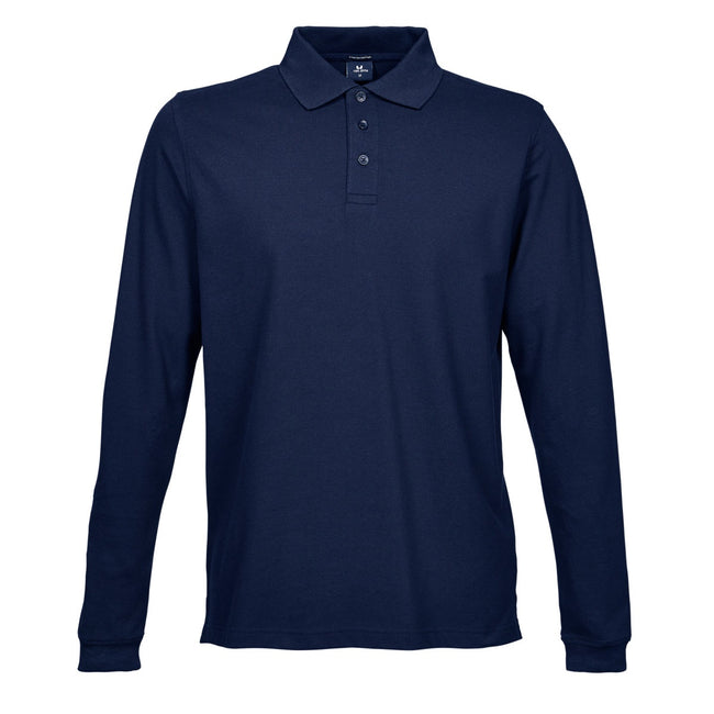 Navy Blue - Front - Tee Jays Mens Luxury Stretch Long Sleeve Polo Shirt