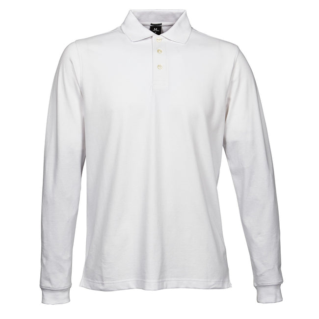 White - Front - Tee Jays Mens Luxury Stretch Long Sleeve Polo Shirt