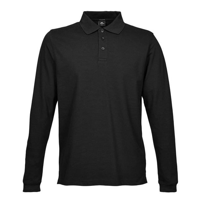 Black - Front - Tee Jays Mens Luxury Stretch Long Sleeve Polo Shirt
