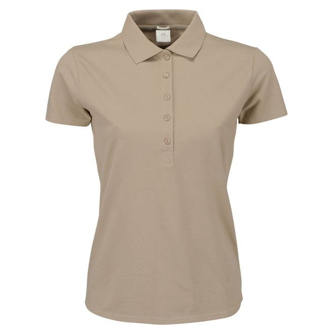 Rose - Front - Tee Jays Womens-Ladies Luxury Stretch Short Sleeve Polo Shirt
