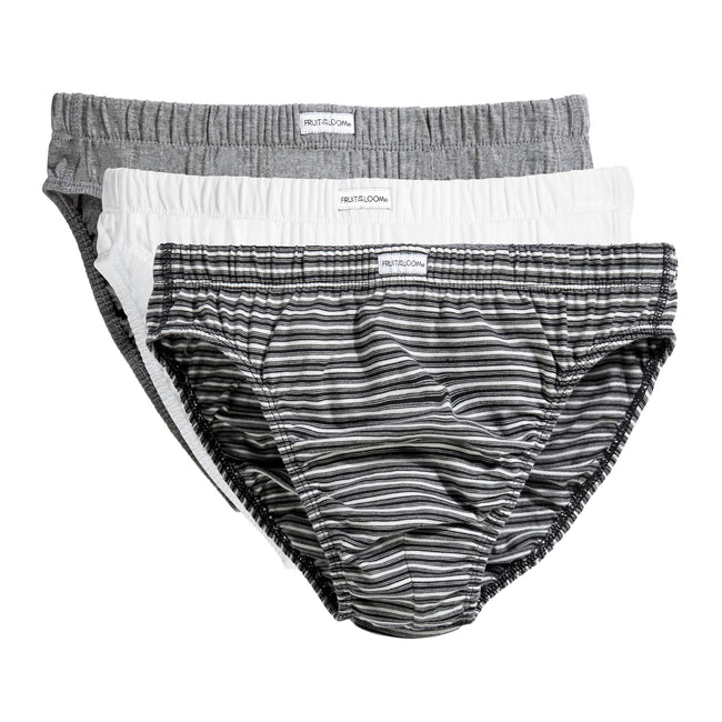 Black-White Stripe - Front - Fruit Of The Loom Mens Classic Slip Briefs (Pack Of 3)