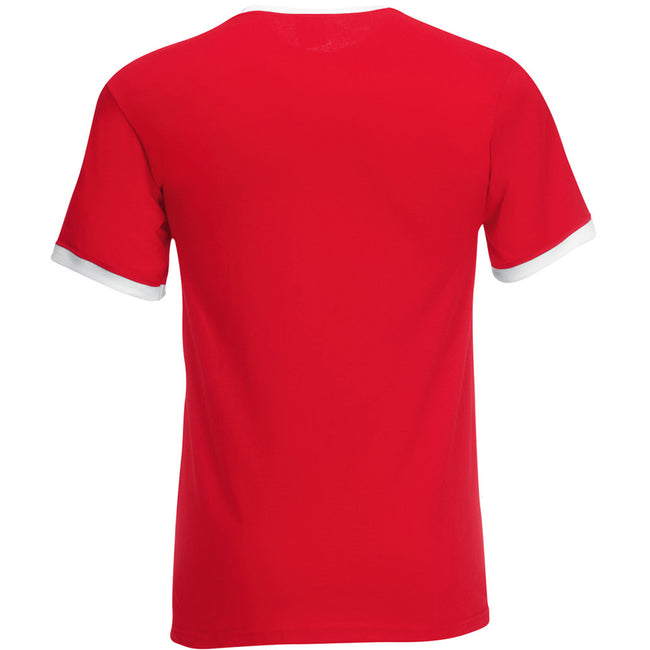 Red-White - Back - Fruit Of The Loom Mens Ringer Short Sleeve T-Shirt