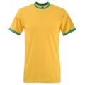 Sunflower-Kelly Green - Front - Fruit Of The Loom Mens Ringer Short Sleeve T-Shirt