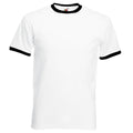 White-Black - Front - Fruit Of The Loom Mens Ringer Short Sleeve T-Shirt