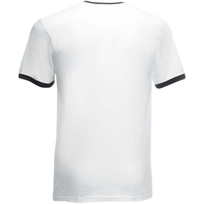 White-Black - Back - Fruit Of The Loom Mens Ringer Short Sleeve T-Shirt