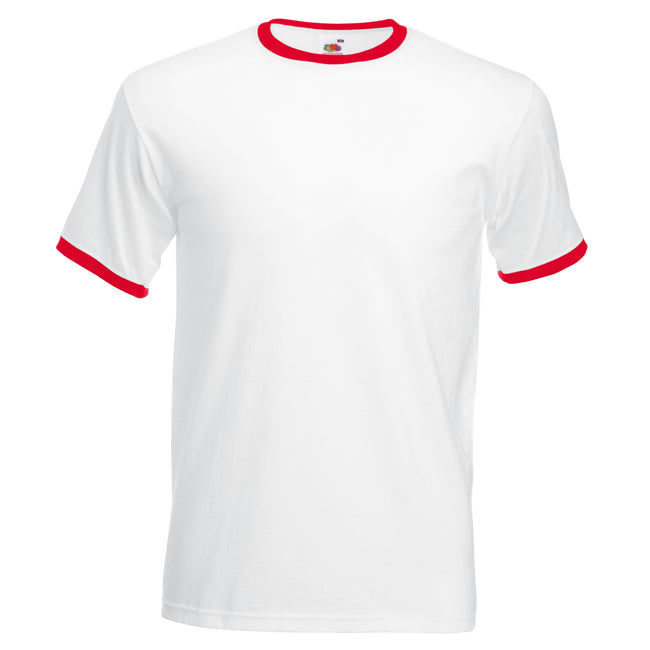 White-Red - Front - Fruit Of The Loom Mens Ringer Short Sleeve T-Shirt
