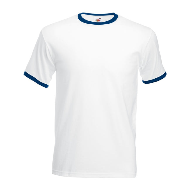 White-Navy - Front - Fruit Of The Loom Mens Ringer Short Sleeve T-Shirt