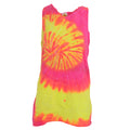 Fluorescent Swirl - Front - Colortone Womens-Ladies Sleeveless Tie-Dye Tank Top