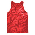 Spiral Red - Front - Colortone Womens-Ladies Sleeveless Tie-Dye Tank Top
