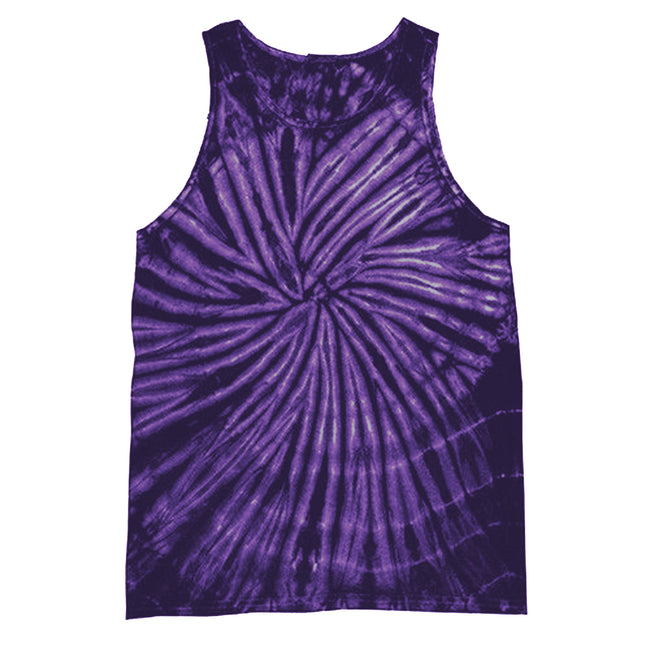 Spiral Purple - Front - Colortone Womens-Ladies Sleeveless Tie-Dye Tank Top