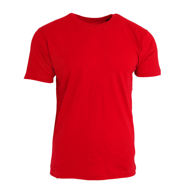 Red - Front - Nakedshirt Mens Larry Short Sleeve Organic Cotton T-Shirt