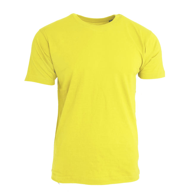 Yellow - Front - Nakedshirt Mens Larry Short Sleeve Organic Cotton T-Shirt