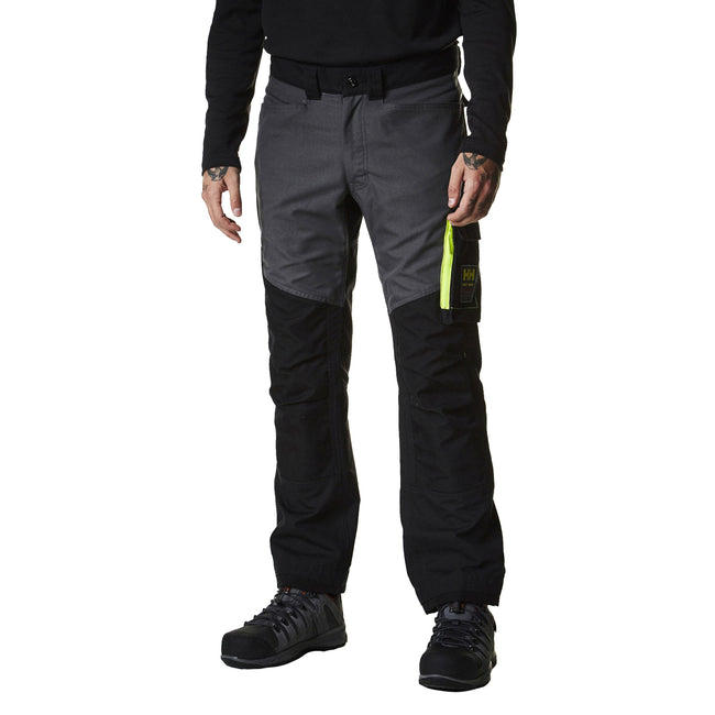 Jet Black-Dark Gray - Side - Helly Hansen Mens Aker Work Pants