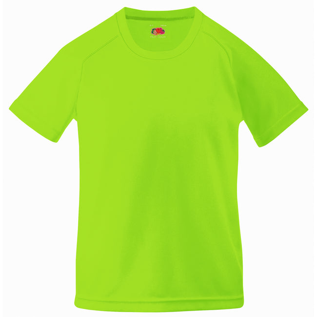 Lime - Back - Fruit Of The Loom Childrens Big Boys Performance Sportswear T-Shirt (Pack of 2)