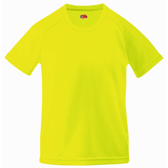 Bright Yellow - Back - Fruit Of The Loom Childrens Big Boys Performance Sportswear T-Shirt (Pack of 2)