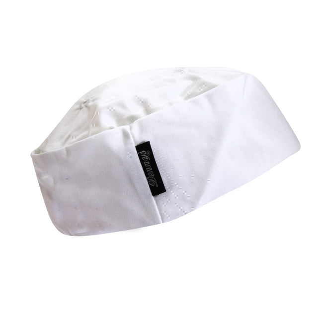 White - Front - Dennys Ladies-Womens White Skull Cap - Chefswear Caps & Hats  (Pack of 2)
