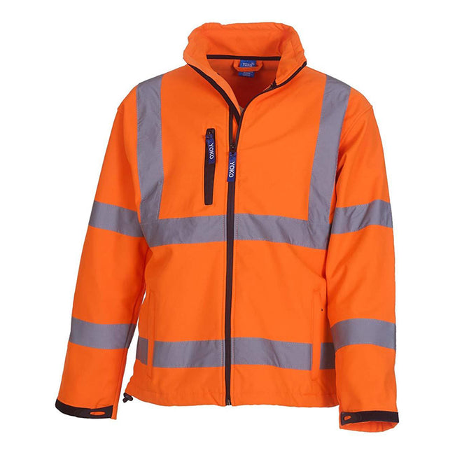 Hi Vis Orange - Front - Yoko Mens Hi-Vis Sofshell Jacket (Pack of 2)