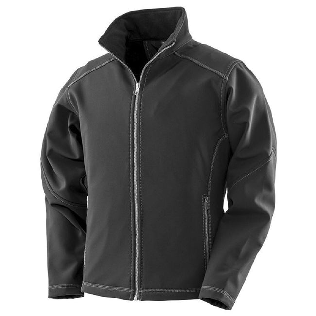 Black - Front - Result Womens-Ladies Work-Guard Softshell Jacket