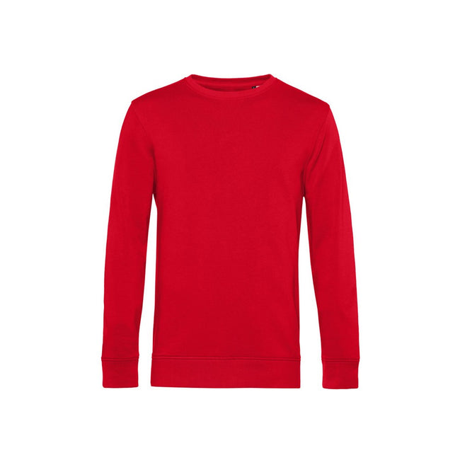 Red - Front - B&C Mens Organic Crew Neck Sweat