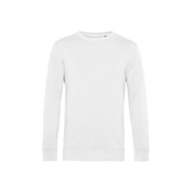 White - Front - B&C Mens Organic Crew Neck Sweat