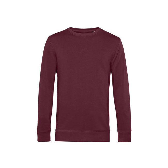 Burgundy - Front - B&C Mens Organic Crew Neck Sweat