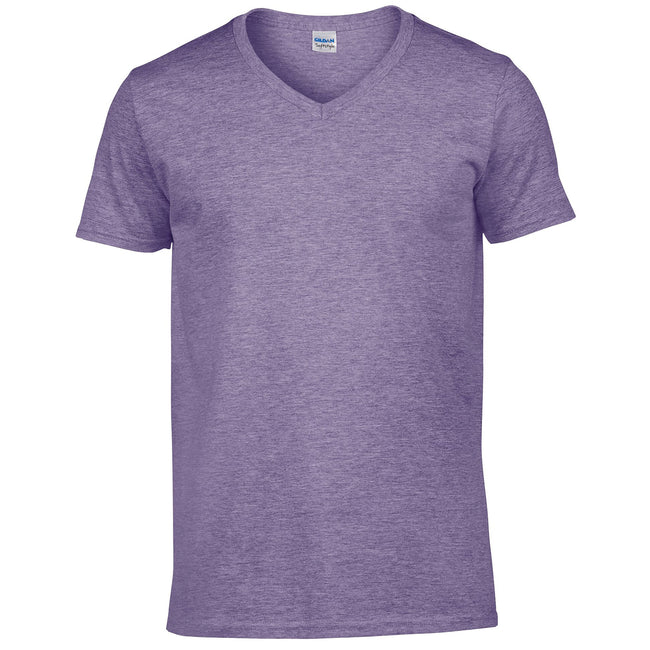 Heather Purple - Front - Gildan Mens Soft Style V-Neck Short Sleeve T-Shirt