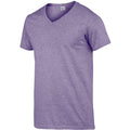 Heather Purple - Side - Gildan Mens Soft Style V-Neck Short Sleeve T-Shirt
