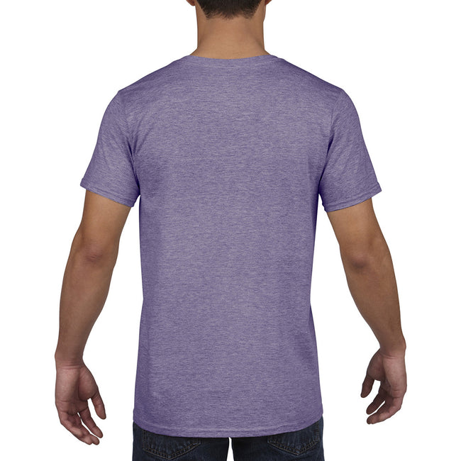 Heather Purple - Pack Shot - Gildan Mens Soft Style V-Neck Short Sleeve T-Shirt