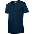 Navy - Side - Gildan Mens Soft Style V-Neck Short Sleeve T-Shirt