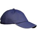 Navy-White - Back - Result Unisex Low Profile Heavy Brushed Cotton Baseball Cap With Sandwich Peak