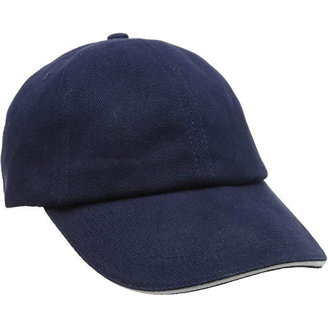 Navy-White - Side - Result Unisex Low Profile Heavy Brushed Cotton Baseball Cap With Sandwich Peak