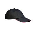 Black-Red - Front - Result Unisex Low Profile Heavy Brushed Cotton Baseball Cap With Sandwich Peak