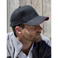 Black-Red - Back - Result Unisex Low Profile Heavy Brushed Cotton Baseball Cap With Sandwich Peak