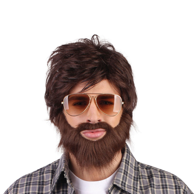 Brown - Front - Bristol Novelty Unisex Vegas Vacation Wig And Beard Set