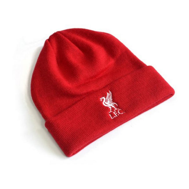 Red - Front - Liverpool FC Official Adults Knitted Turn Up Hat