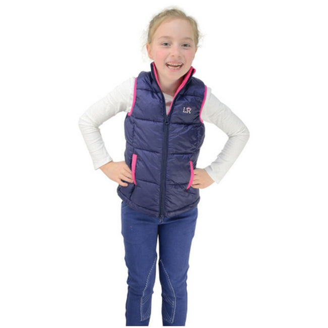 Navy-Pink - Front - Little Rider Girls Annabelle Padded Gilet