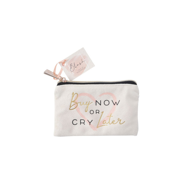 White - Front - Blush Buy Now or Cry Later Purse